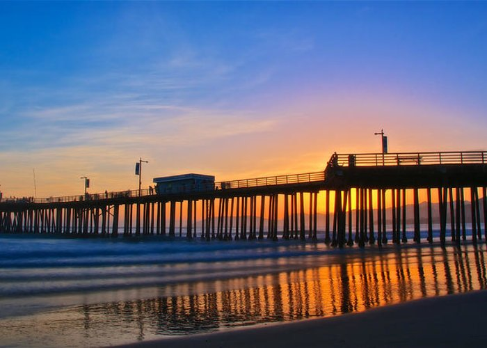 Nature Greeting Card featuring the photograph Pismo Beach and Pier Sunset by Zayne Diamond Photographic