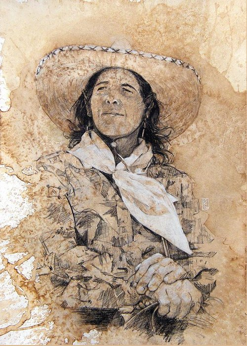 Cowgirl Art Greeting Card featuring the drawing Pistol Packin' Cowgirl by Debra Jones
