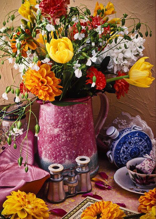 Binoculars Greeting Card featuring the photograph Pitcher Of Flowers Still Life by Garry Gay