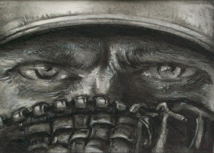 Baseball Greeting Card featuring the drawing Pitchers Eyes by Tom Forgione