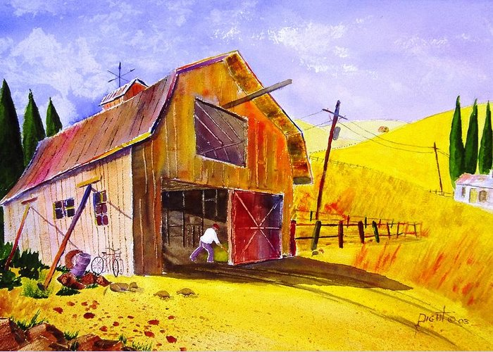 Lanscape Greeting Card featuring the painting Pitching Hay by Buster Dight