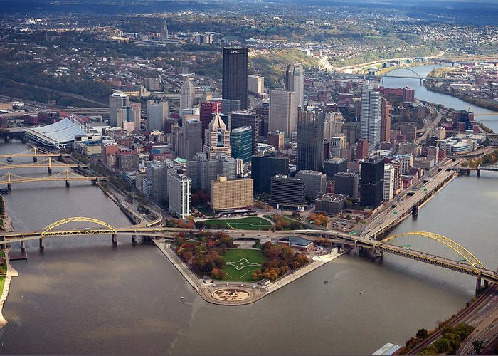 Aerial Photography Greeting Card featuring the photograph Pittsburgh 8 In Color by Emmanuel Panagiotakis