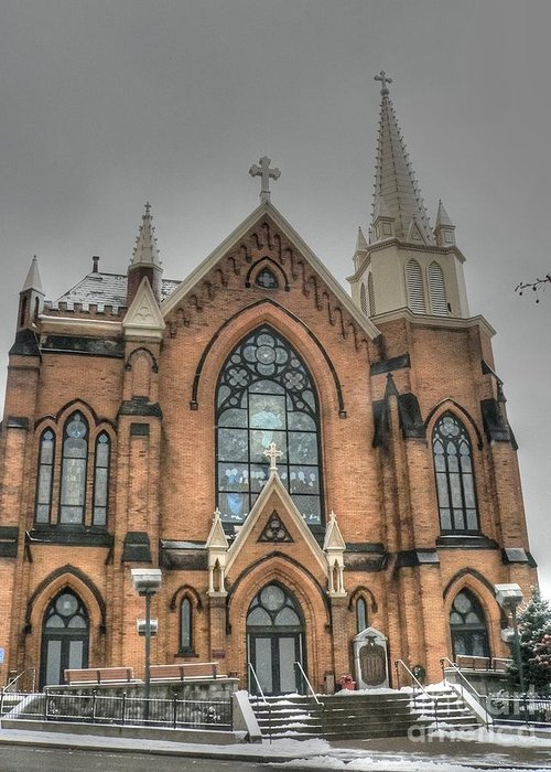 Catholic Church Greeting Card featuring the photograph Pittsburgh Cathedral by David Bearden