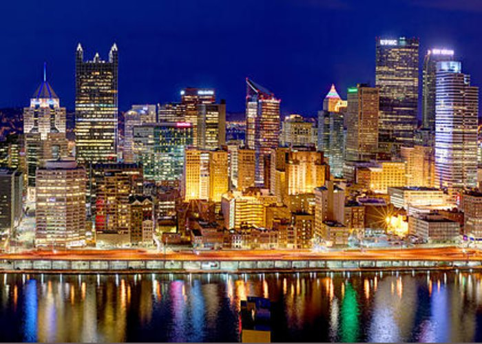 Pittsburgh Skyline At Night Greeting Card featuring the photograph Pittsburgh Pennsylvania Skyline At Night Panorama by Jon Holiday