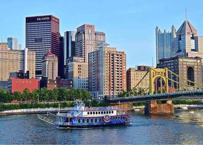 Pittsburgh Greeting Card featuring the photograph Pittsburgh River Cruise by Frozen in Time Fine Art Photography