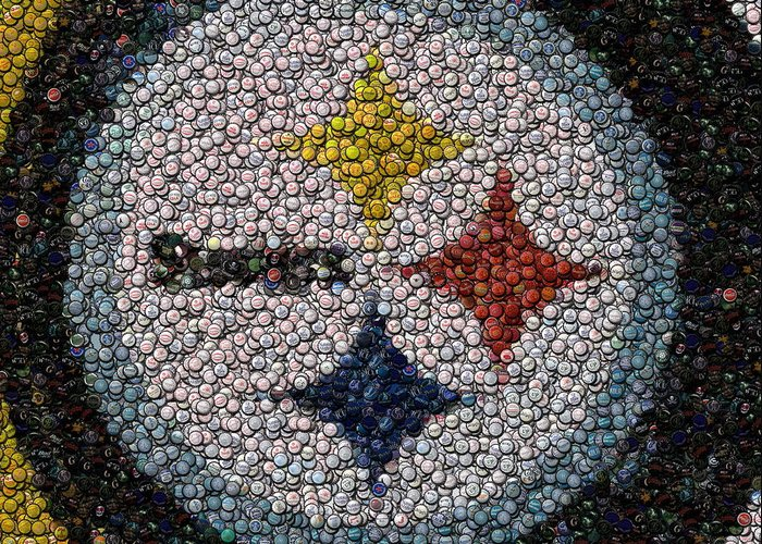 Pittsburg Greeting Card featuring the digital art Pittsburgh Steelers Bottle Cap Mosaic by Paul Van Scott