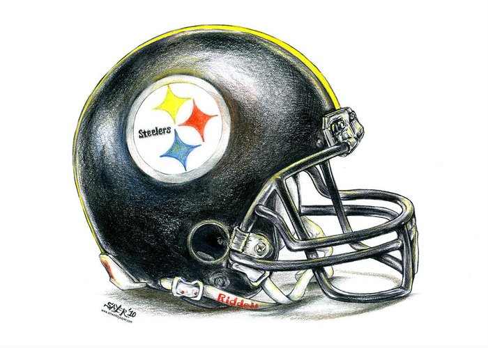 Pittsburgh Greeting Card featuring the drawing Pittsburgh Steelers Helmet by James Sayer