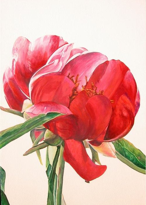 Floral Painting Greeting Card featuring the painting Pivoine 2 by Muriel Dolemieux