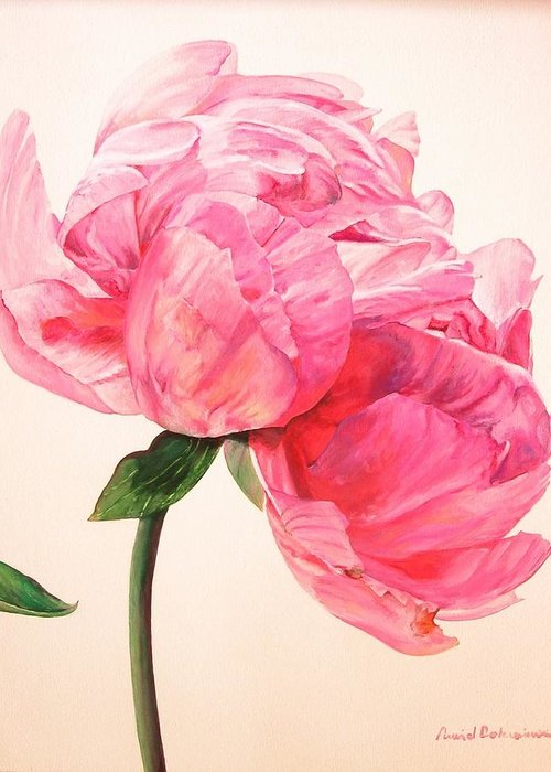 Floral Painting Greeting Card featuring the painting Pivoine 3 by Muriel Dolemieux