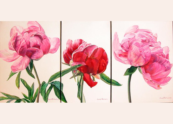 Floral Painting Greeting Card featuring the painting Pivoines by Muriel Dolemieux