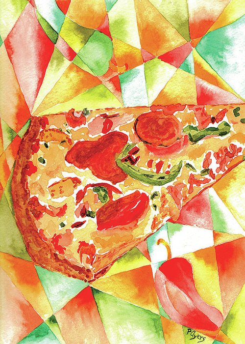 Watercolor Greeting Card featuring the painting Pizza Pizza by Paula Ayers