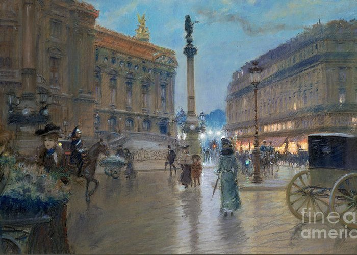 Place De L'opera Greeting Card featuring the painting Place De L Opera In Paris by Georges Stein