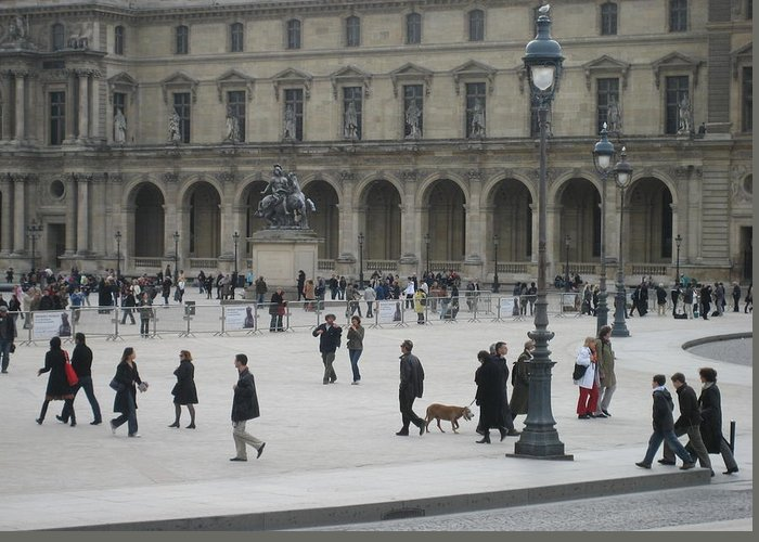 Louvre Greeting Card featuring the photograph Place Du Carrousel At The Louvre by Victoria Heryet