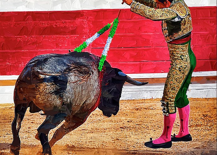 Matador Greeting Card featuring the photograph Placing Bandirillas by Clarence Alford