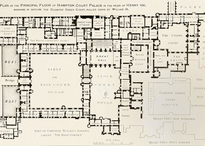 Court Greeting Card featuring the drawing Plan Of Principal Floor Of Hampton by Vintage Design Pics