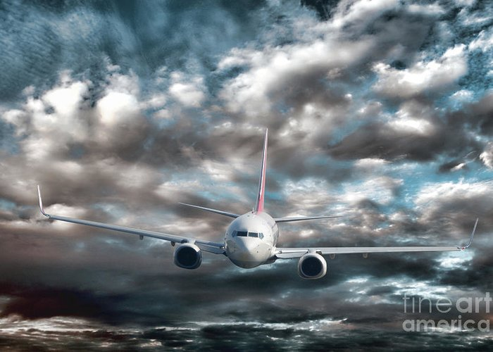 Above Greeting Card featuring the photograph Plane In Storm by Olivier Le Queinec