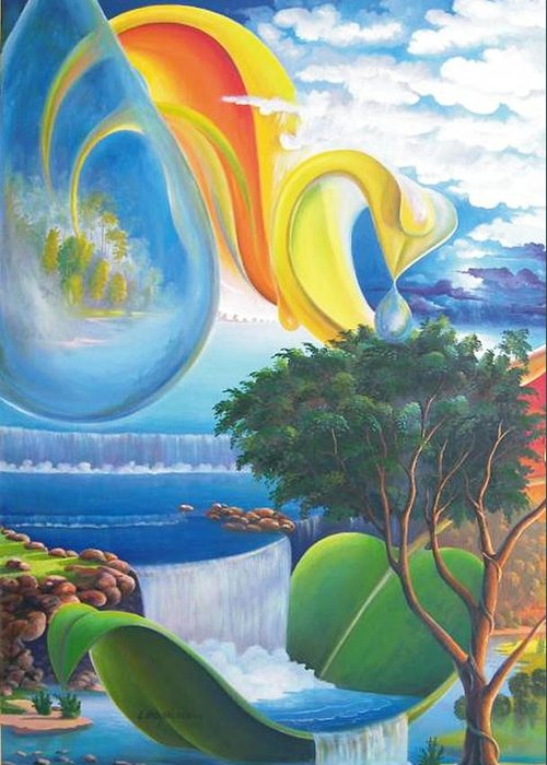 Surrealism - Landscape Greeting Card featuring the painting Planet Water - Leomariano by Leomariano artist BRASIL