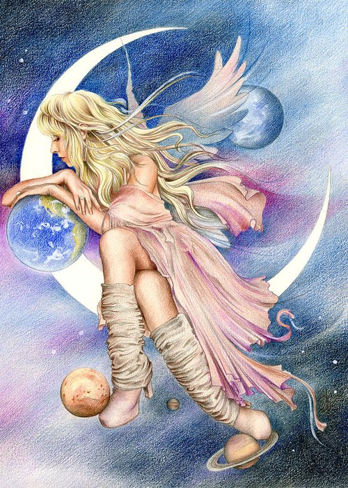Stevie Nicks Greeting Card featuring the drawing Planets Of The Universe by Johanna Pieterman