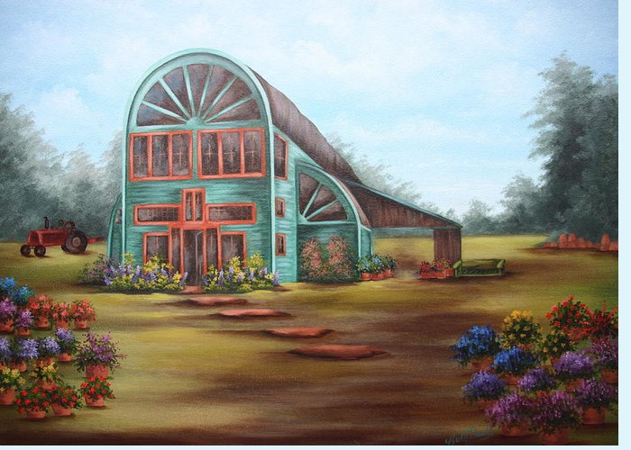 Greenhouse Greeting Card featuring the painting Plants For Sale by Ruth Bares