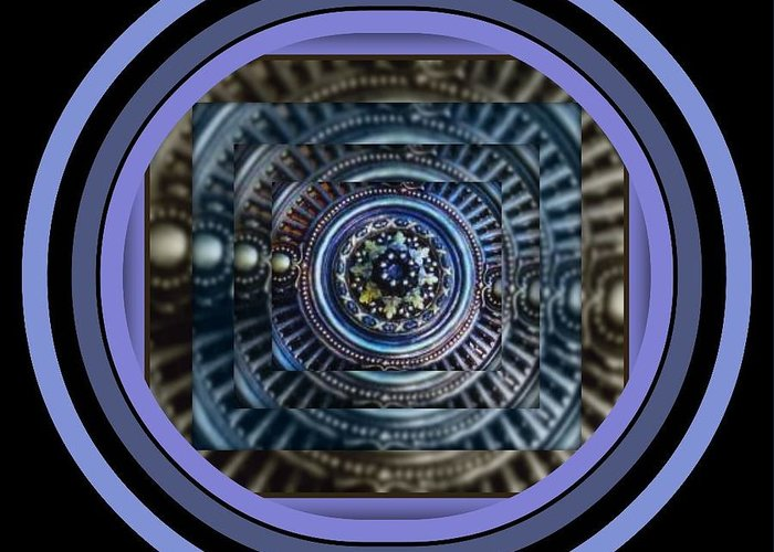 Joan Kamaru Greeting Card featuring the digital art Plaster Art - Blue Circle by Joan Kamaru