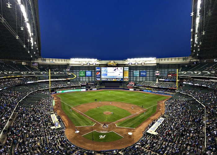 Miller Park Greeting Card featuring the photograph Play Ball by CJ Schmit