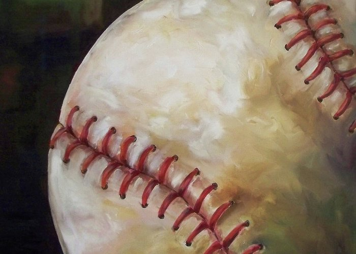 Baseball Greeting Card featuring the painting Play Ball by Kristine Kainer