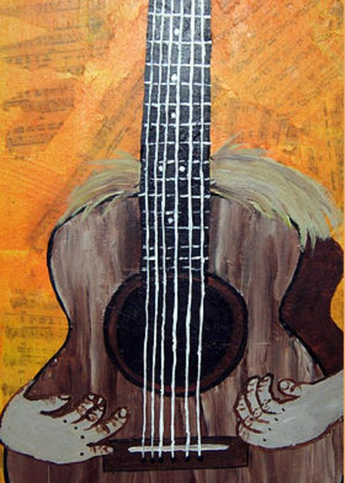 Guitar Greeting Card featuring the mixed media Play For Me by Sharon Supplee