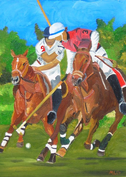 Polo Greeting Card featuring the painting Play In Motion by Michael Lee