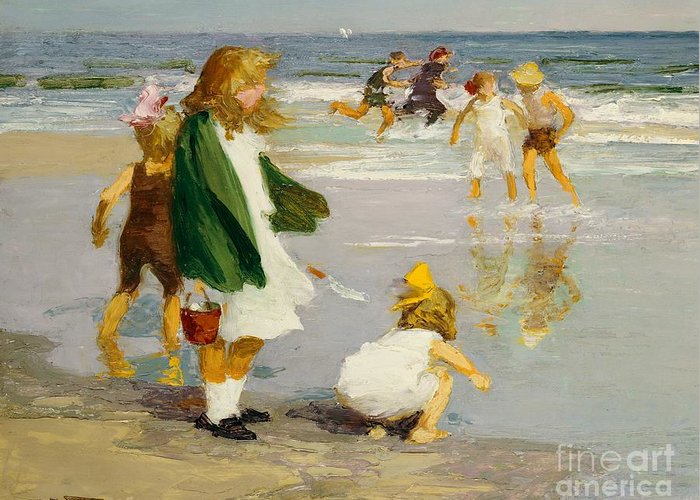 Children; Male; Female; Girl; Girls; Playing; Play; Surf; Beach; Seaside; Holiday; Vacation; Fun; Running; Windy; Summer; Summertime; Innocence; Childhood; Paddling; Vacations Greeting Card featuring the painting Play In The Surf by Edward Henry Potthast
