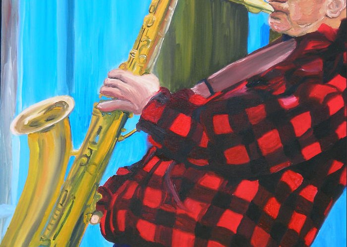 Sax Player Greeting Card featuring the painting Play It Mr Sax Man by Michael Lee