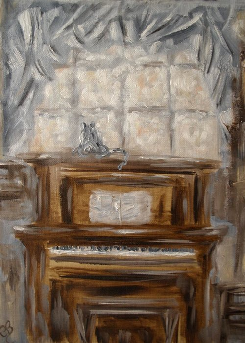 Piano Greeting Card featuring the painting Play Me A Tune by Carrie Mayotte
