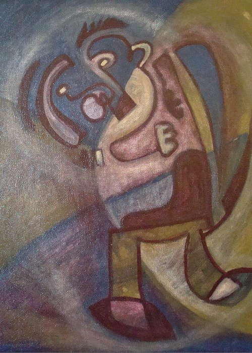 Abstract Figure Greeting Card featuring the painting Play Me Something by W Todd Durrance