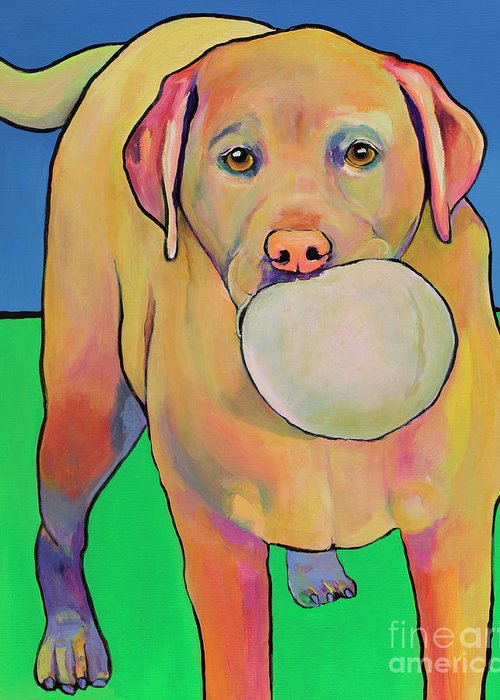 Yellow Lab Greeting Card featuring the painting Play With Me by Pat Saunders-White