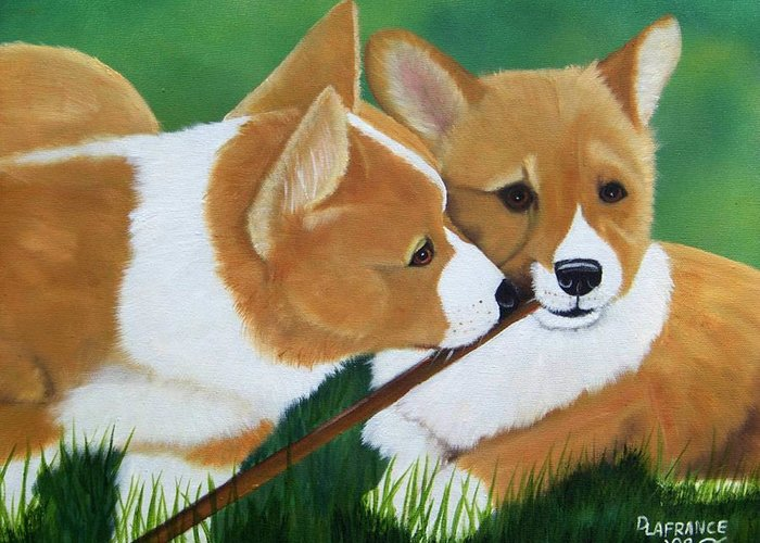 Corgi Greeting Card featuring the painting Playful Corgis by Debbie LaFrance