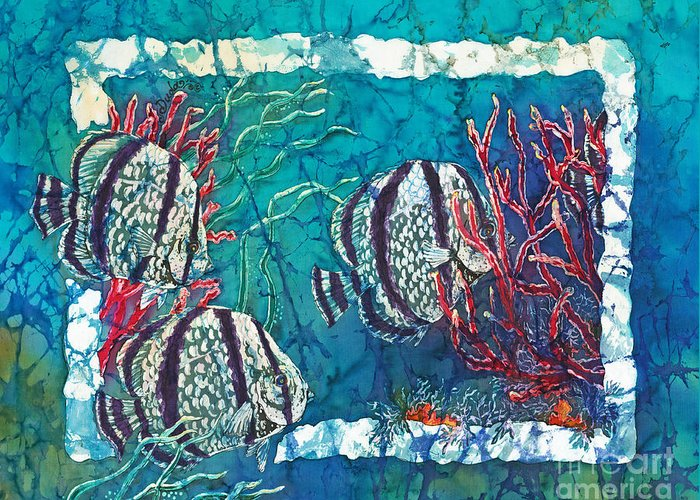 Fish Greeting Card featuring the painting Playful Trio by Sue Duda