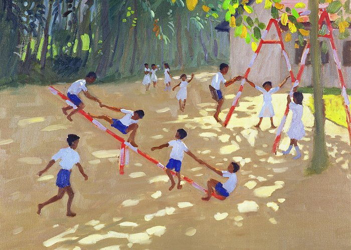 Children Greeting Card featuring the painting Playground Sri Lanka by Andrew Macara