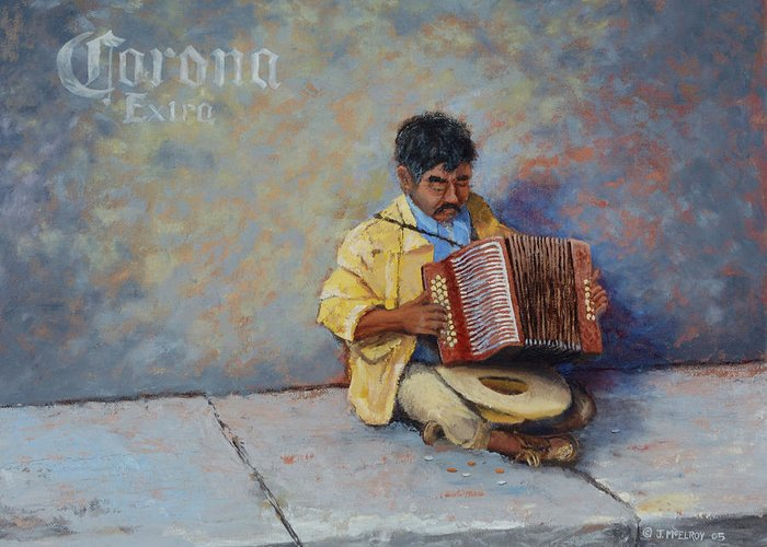 Mexico Greeting Card featuring the painting Playing For Pesos by Jerry McElroy