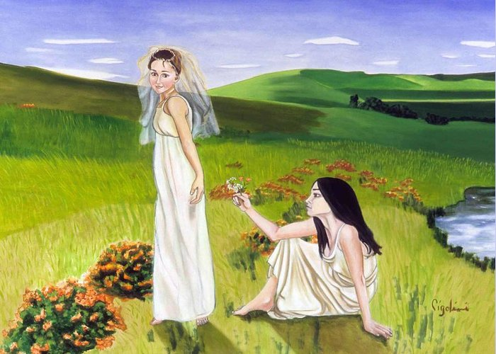 Girls Playing Greeting Card featuring the painting Playing by Gloria Cigolini-DePietro