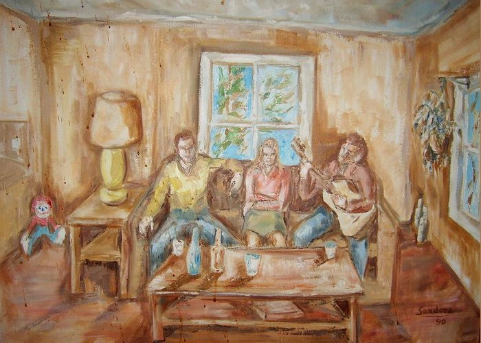 People Portraits Guitar Room Table Greeting Card featuring the painting Playing Guitar by Joseph Sandora Jr