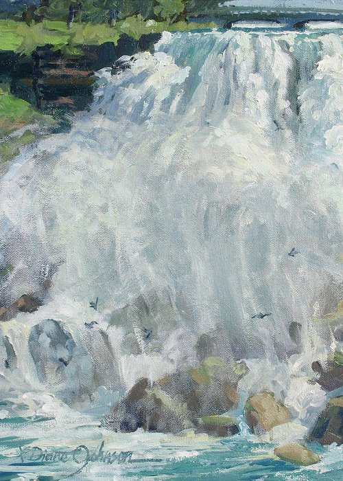 Niagara Falls Greeting Card featuring the painting Playing In The Mist - Niagara Falls by L Diane Johnson