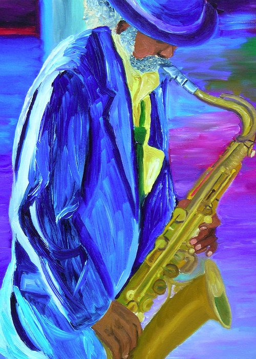 Street Musician Greeting Card featuring the painting Playing The Blues by Michael Lee