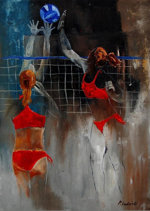 Sport Greeting Card featuring the painting Playing Volley by Pol Ledent