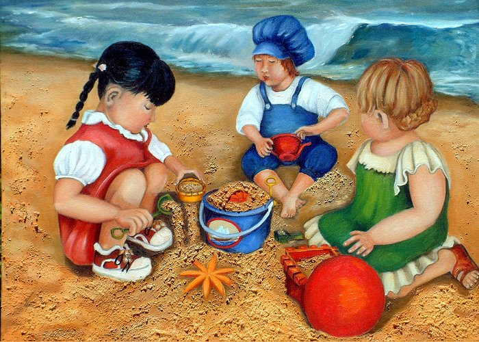 Beach Greeting Card featuring the painting Playtime At The Beach by Enzie Shahmiri