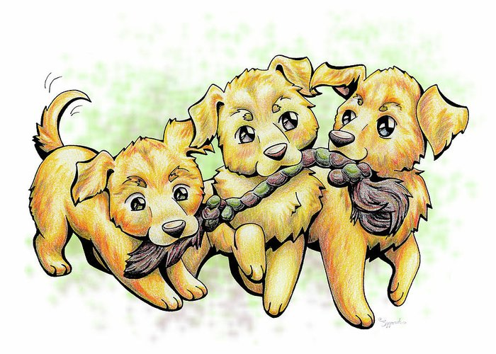 Puppy Greeting Card featuring the drawing Playtime Golden Retriever by Sipporah Art and Illustration