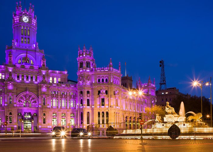 Madrid Greeting Card featuring the photograph Plaza De Cibeles In Madrid by Artur Bogacki