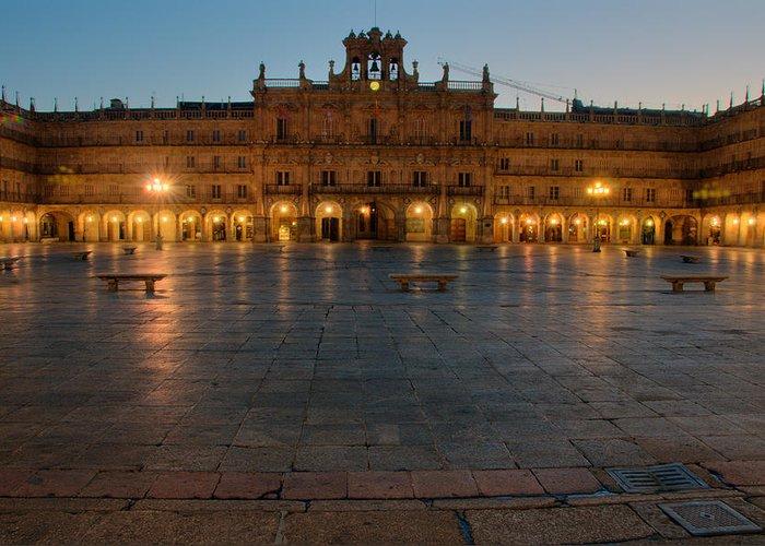 Salamanca Greeting Card featuring the photograph Plaza Mayor In Salamanca by Amber Lea Starfire