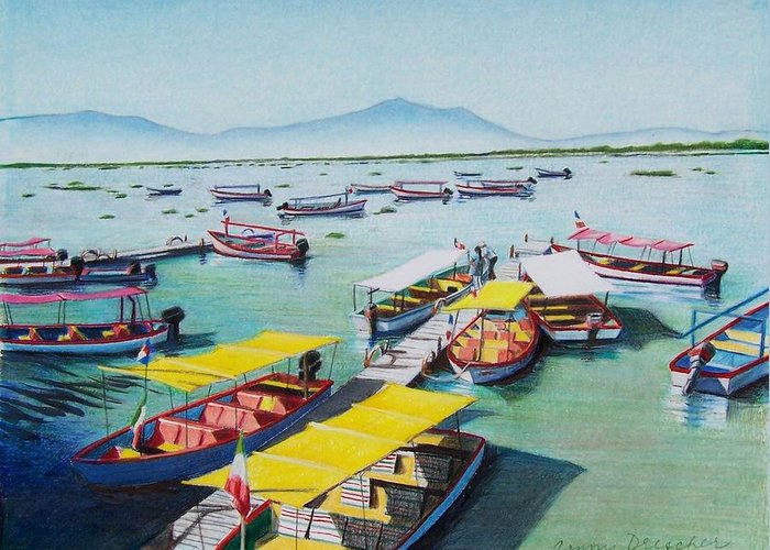 Sea Scape Greeting Card featuring the mixed media Pleasure Boats On Lake Chapala by Constance Drescher