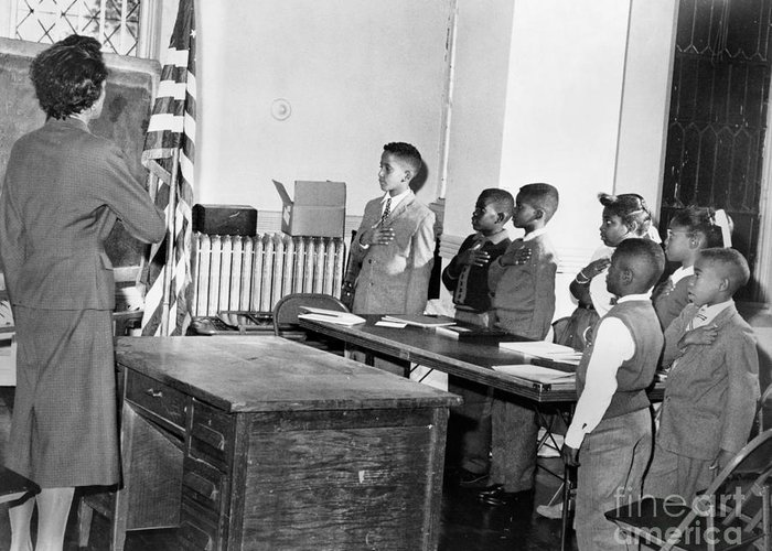 1958 Greeting Card featuring the photograph Pledge Of Allegiance, 1958 by Granger