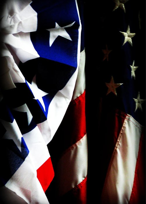 Flag Greeting Card featuring the photograph Pledge To The Usa by Susie Weaver