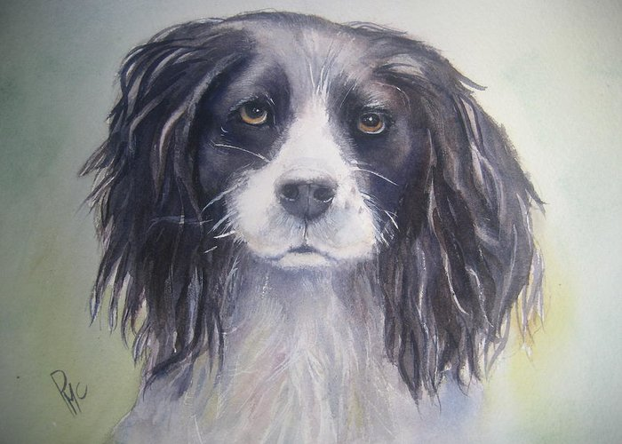 Dog Greeting Card featuring the painting Pleeeese Play by Patricia Pushaw